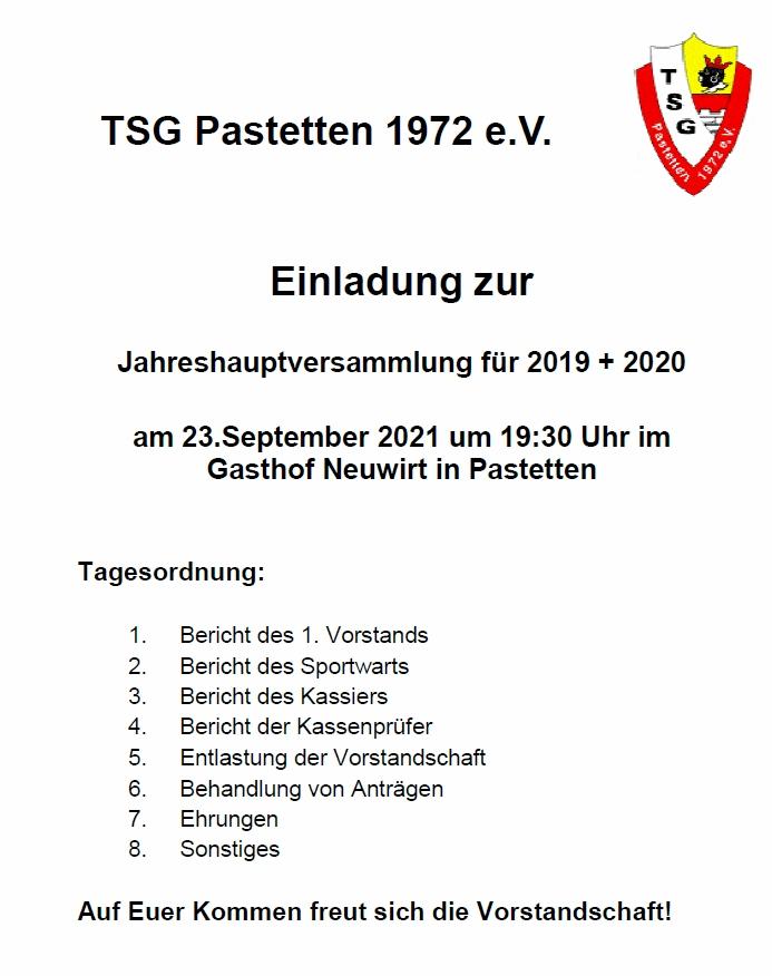 Jahreshauptversammlung 2019/2020